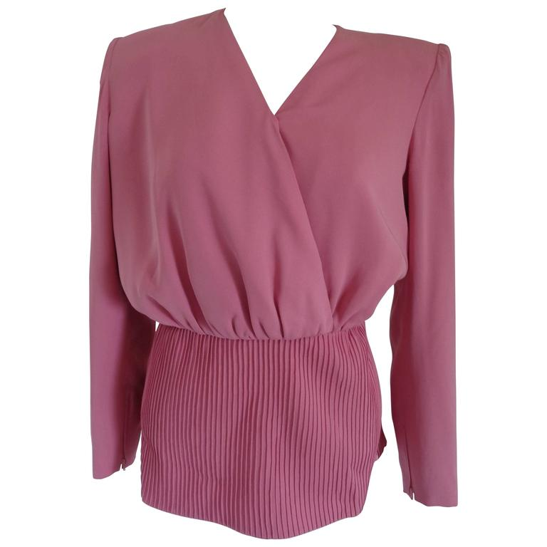 Valentino Boutique Pink Silk Sweater Blouse
