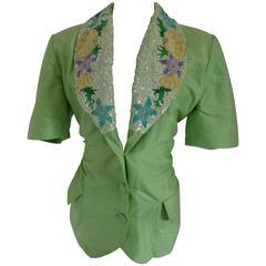 Post Scriptum Green sequins Silk Jacket