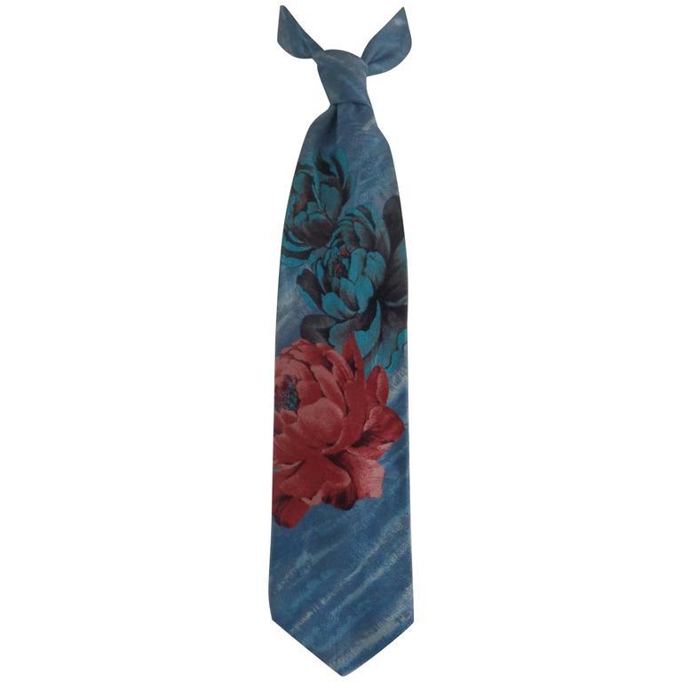 Kenzo light blu Roses Silk Tie