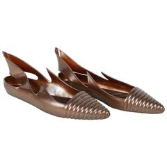 """Thierry Mugler Vintage """"Apollo"""" Pearly Bronze Rubber Sandals Size FR 39"""