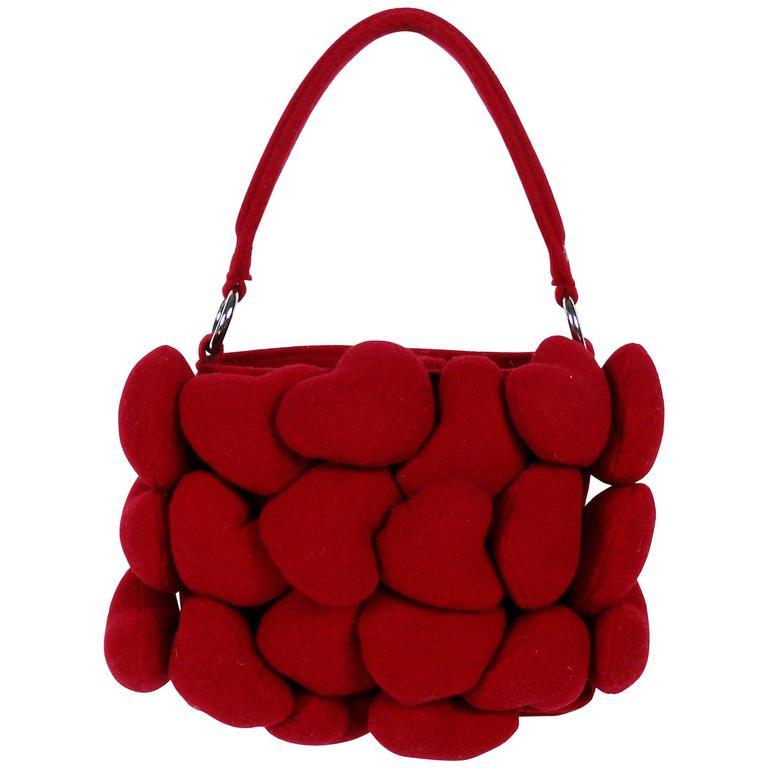 Moschino Iconic Red Multi Heart Handbag