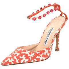 Manolo Blahnik Coral & Grey Printed Canvas Pumps sz IT39
