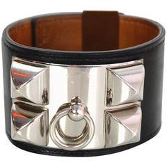 Hermes Black & Palladium Collier de Chien CDC Cudd Bracelet sz S