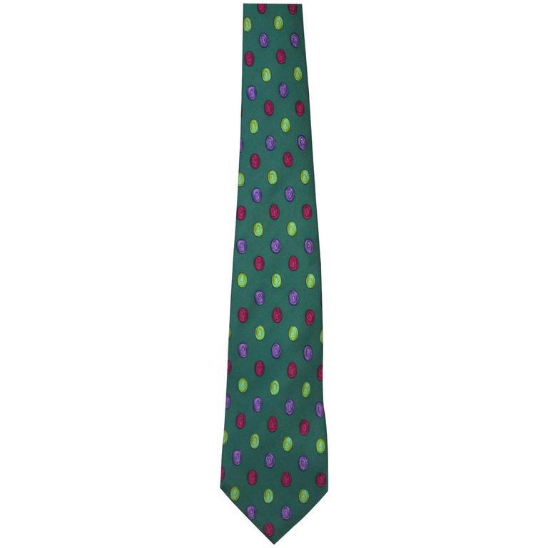 Chanel Green & Multi-Color Dot Print Silk Tie 1