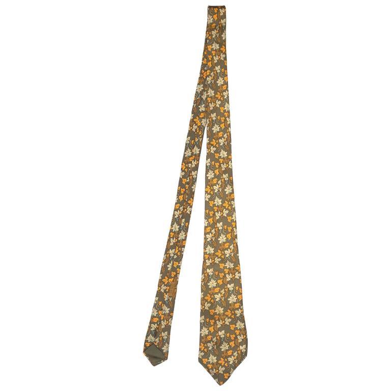 Hermes Olive Autumn Leaves Printed Silk Tie