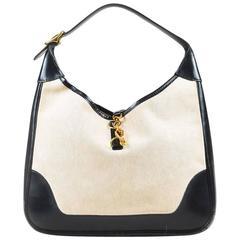 """Vintage Hermes Beige Black Box Calf Leather Canvas Gold Hardware """"Trim"""" Bag"""