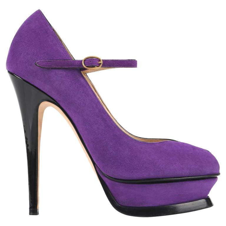 "YVES SAINT LAURENT S/S 2007 ""Tribute Mary Jane"" YSL Purple Suede Platform Pumps"