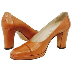 Chanel Textured Tan Cognac Leather Pumps With Cap Toes and Low Platform