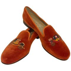 Stubbs & Wootton Pumpkin Velvet Slippers Size 11 Womens