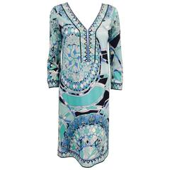 Emilio Pucci Abstract Print Tunic Dress With Bracelet Sleeves