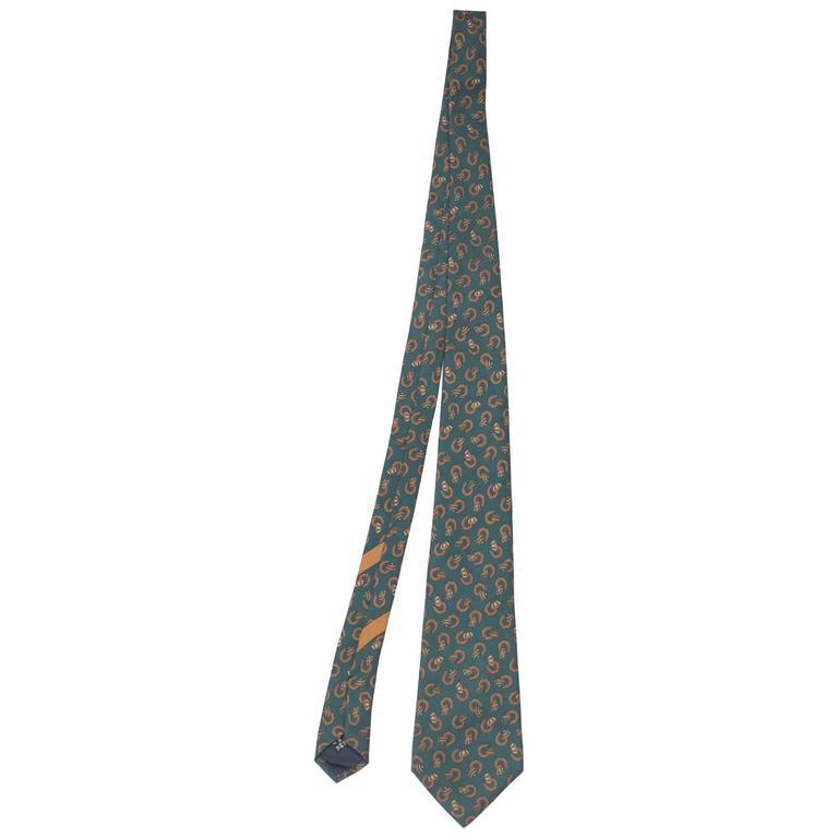 Salvatore Ferragamo Green Horse Shoe & Cap Print Silk Tie