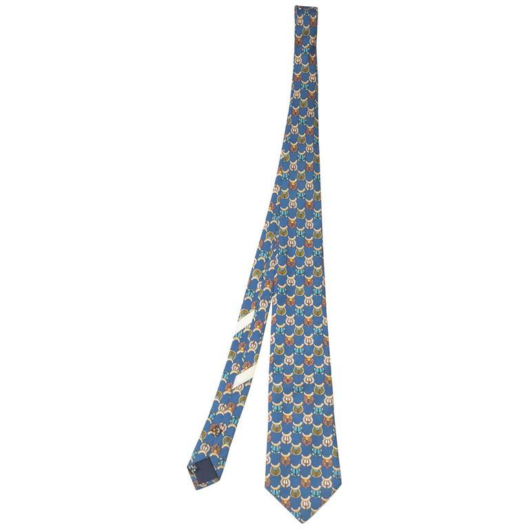 Salvatore Ferragamo Blue Saddle Print Silk Tie