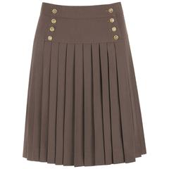 CHANEL c.1990's Dark Taupe Button Front Knife Pleated Skirt