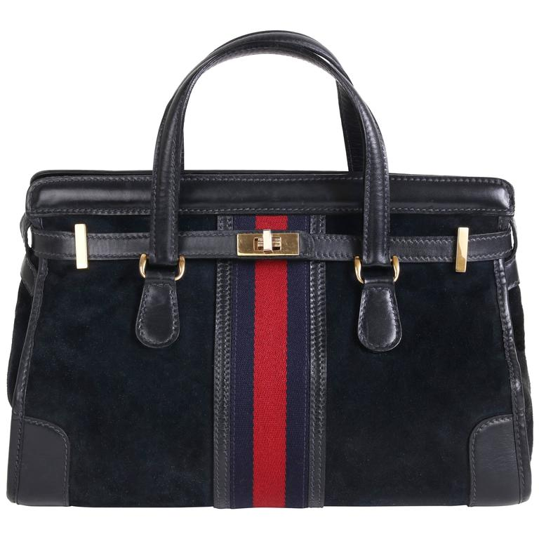 Rare 1970s Gucci Navy Blue Suede Doctor S Bag Handbag Tote W Racer Stripe For
