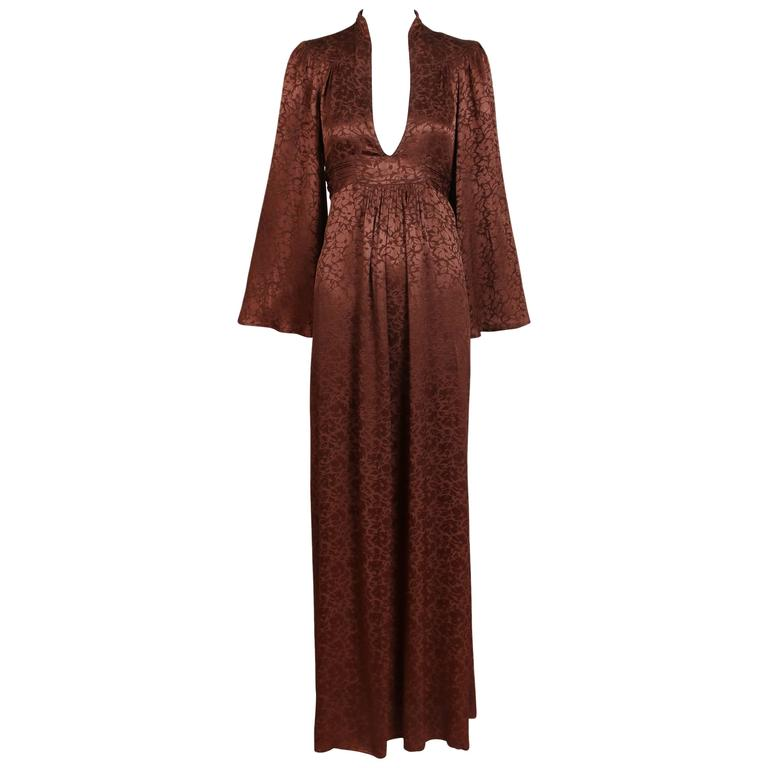 1970's Ossie Clark Brown Silk Damask Graduation Dress w/Plunge Neckline