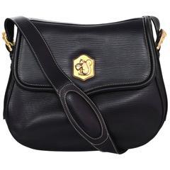 Barry Kieselstein-Cord Black Leather Saddle Bag w/ Squirrel & Acorn