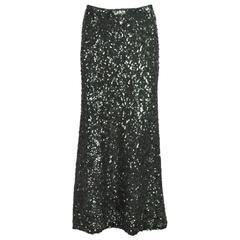 1990's Jean-Paul Gaultier Dark Green Sequin A-Line Skirt