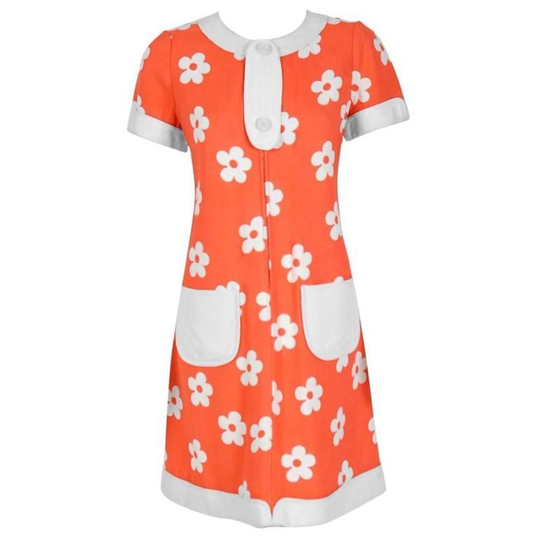 1967 Courreges Couture Orange & White Floral Print Silk Mod Space-Age Dress