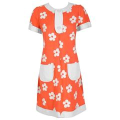 1967 Courreges Couture Orange and White Floral Print Silk Mod Space Age Dress