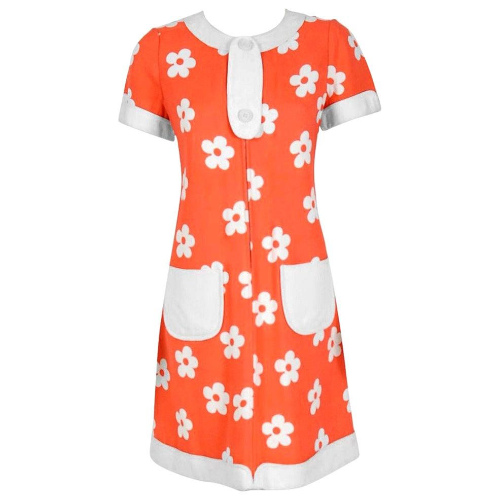 Vintage 1967 Courreges Couture Orange & White Bold Floral Print Silk Mod Dress