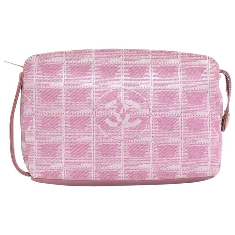 Chanel Pink Jacquard Nylon Travel Line Pouch Hand Bag For Sale