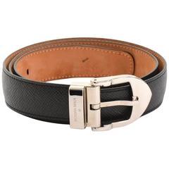 Louis Vuitton Black Taiga Leather San Tour Classic Belt Size 85/34