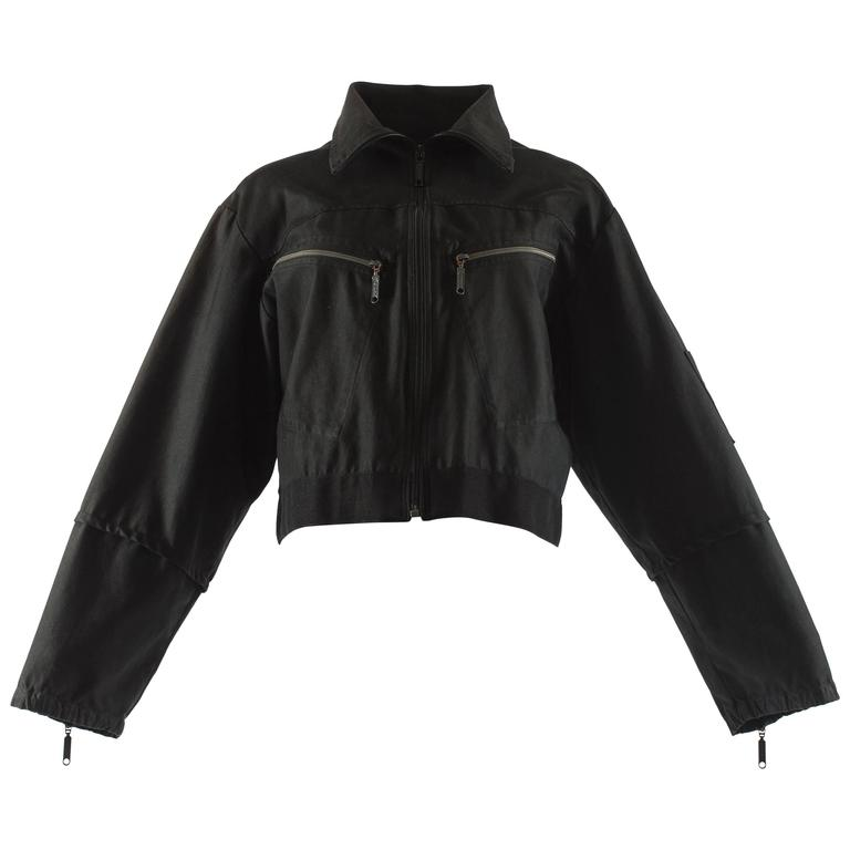 Maison Martin Margiela Spring-Summer 1996 black cotton cropped flight jacket