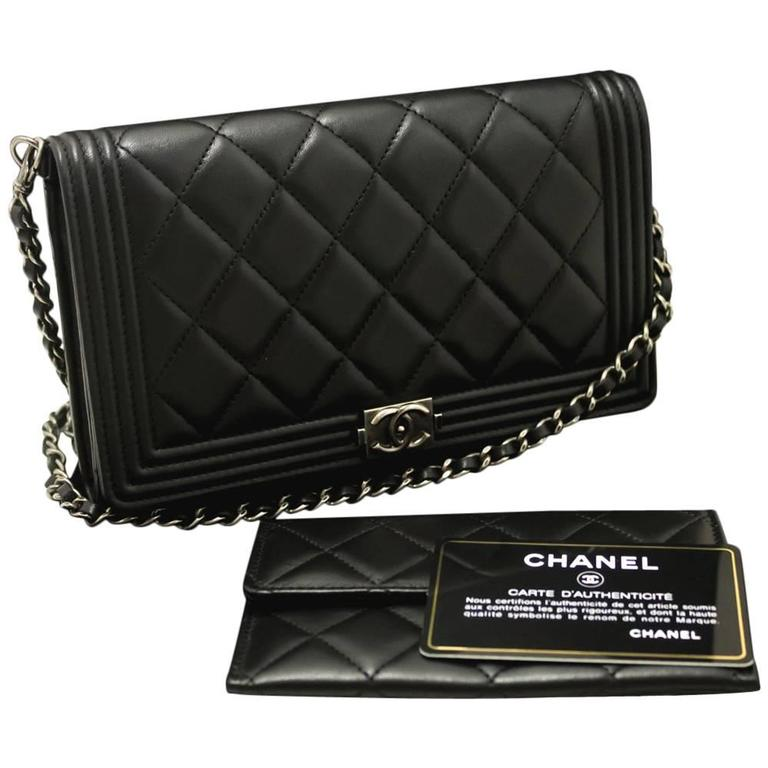 CHANEL Boy WOC Wallet On Chain Hand Bag Clutch Black Quilted Flap For Sale 091425782