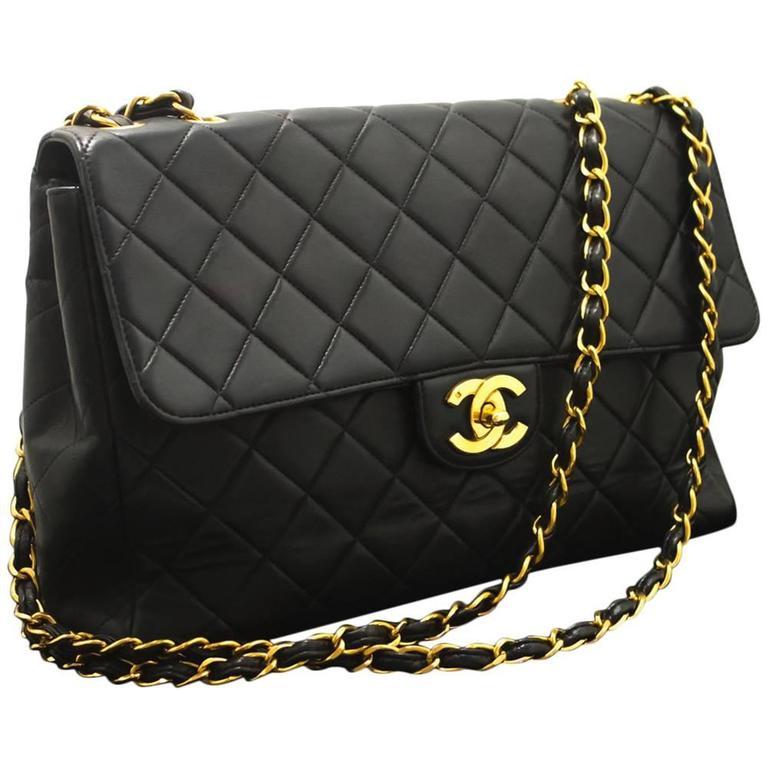 "CHANEL Jumbo 11"" Large Chain Shoulder Bag Crossbody Black Flap  1"