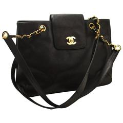 CHANEL Caviar Jumbo Large Chain Shoulder Bag Black Leather Gold