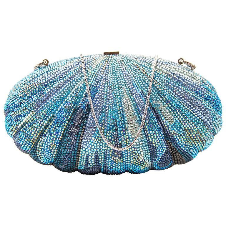 Judith Leiber Blue Shell Clutch 1