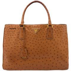 Prada Camel Ostrich Convertable Tote Bag