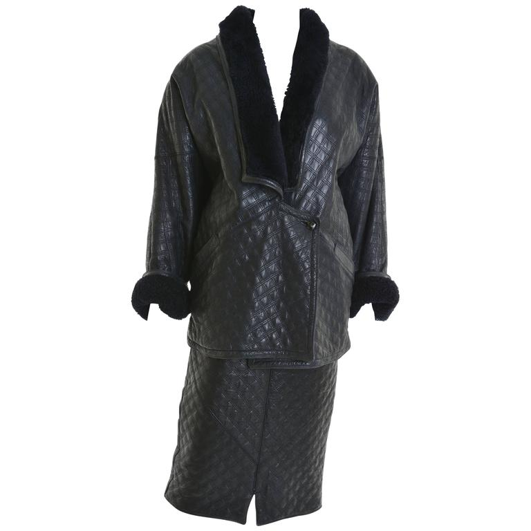1980s GIANNI VERSACE Black Leather Suit Dress 1