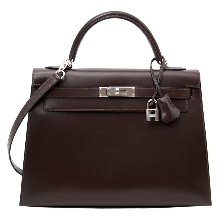 Hermes Kelly Chocolate 32  + Strap 1