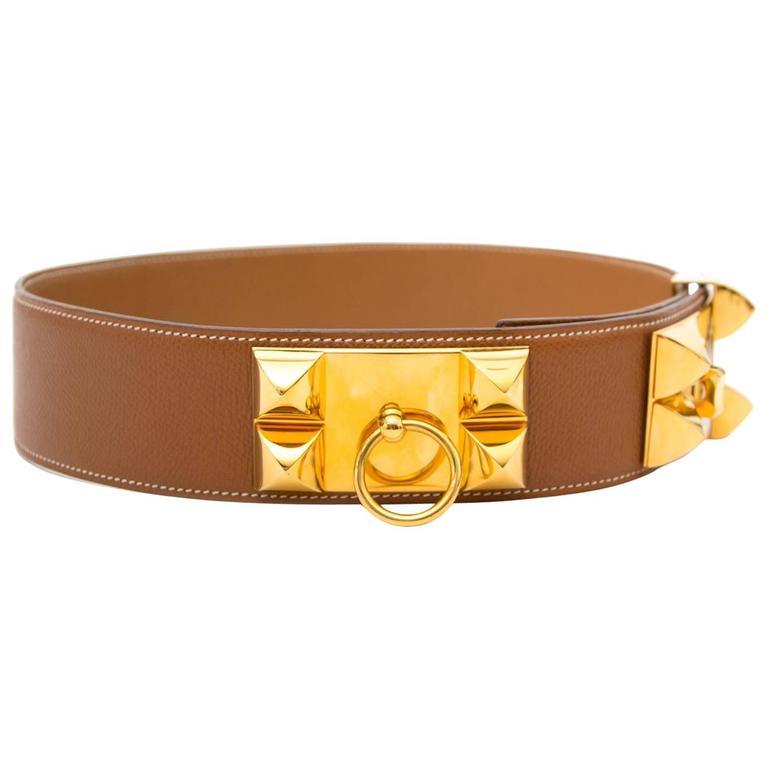 Hermes Brown Collier De Chien Belt  For Sale