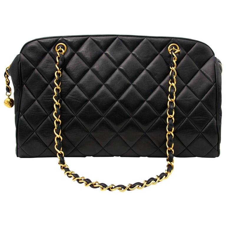 Chanel Navy Quilted Leather Shopper 1