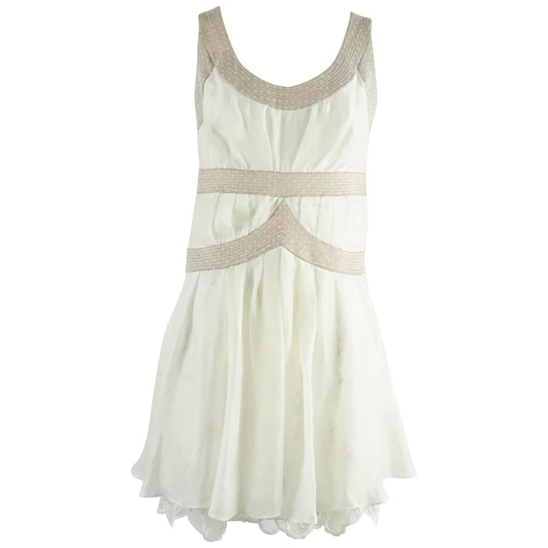 Nina Ricci Ivory Cotton and Lace Slip Dress - 6 - circa 1990's  For Sale