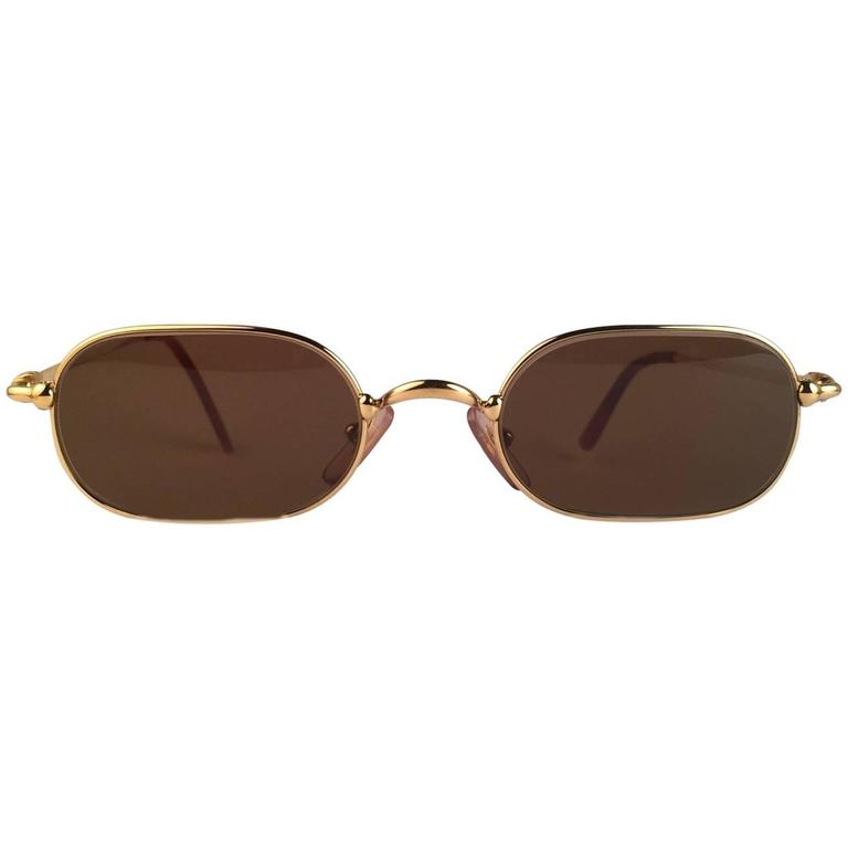 Cartier Deimios Gold Plated Solid Brown Lens France 1990 Sunglasses 1
