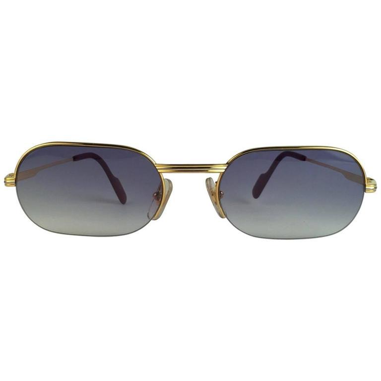 New Cartier Ascot Vendome Gold 53mm Half Frame Sunglasses Elton John France 1