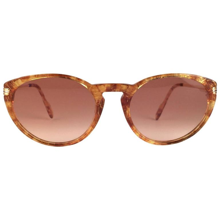 Cartier Aurore Jaspe Gold Sunglasses Brown France 18k Gold 1991 For Sale