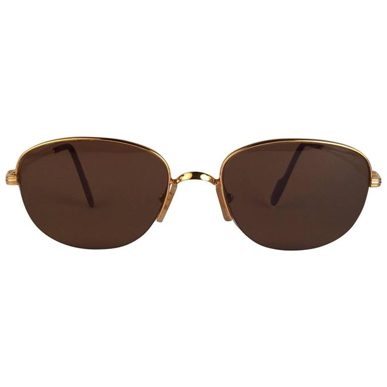 Cartier Montaigne Half Frame 53mm Sunglasses 18k Gold Sunglasses France For Sale