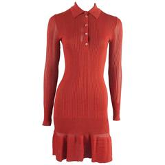 Alaia Red Knit Long Sleeve Collared Dress - S