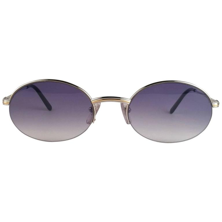 New Cartier Oval Platine Manhattan 51mm Frame18k Plated Sunglasses France