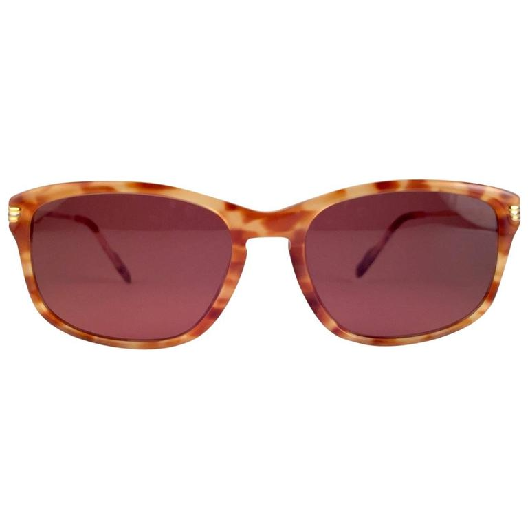 Cartier Reflet Honey Brown Sunglasses 56/18 18k Gold France 1991