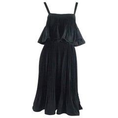 Nina Ricci Haute Couture Black Silk Pleated Dress - 4 - 1986
