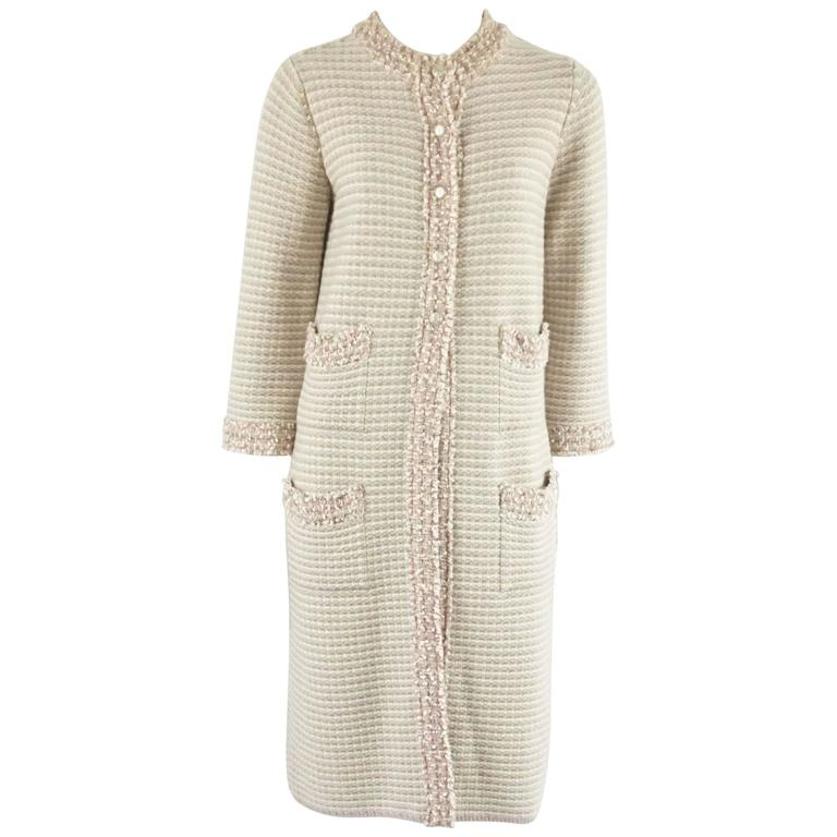Chanel Tan, Ivory, and Rose Cashmere Blend Full Sweater Coat - 40