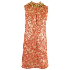 Oscar de la Renta Red and Gold Brocade Dress with Beaded Collar - M - 1990's