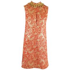 Oscar de la Renta Red and Gold Brocade Dress with Beaded Collar - M - 1990's