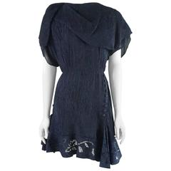Nina Ricci Navy Silk Pleated Dress with Lace - 40