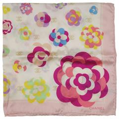 Chanel Flower Pattern Multicolored Scarf